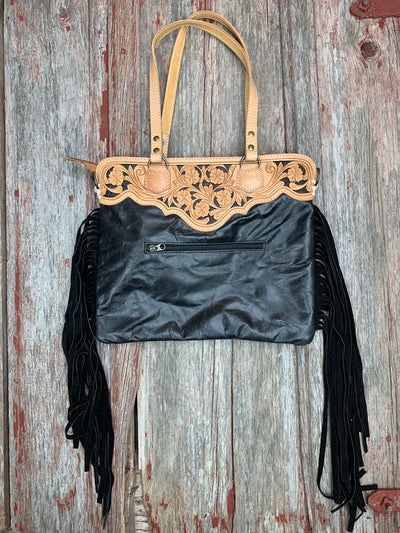 Aztec Adilene Tooled Leather & Fringe Purse