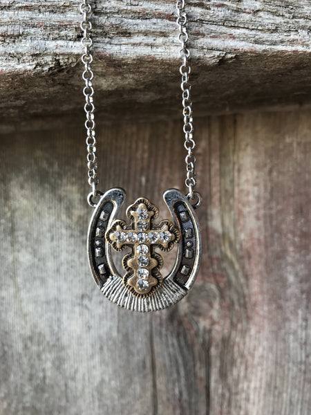 Horseshoe and Cross Necklace