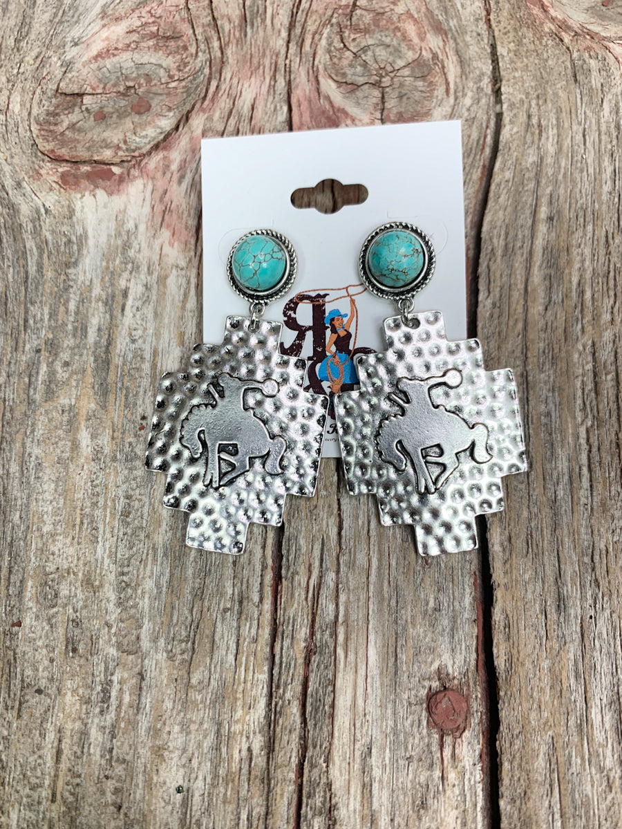 Bronc & Aztec Turquoise Earrings