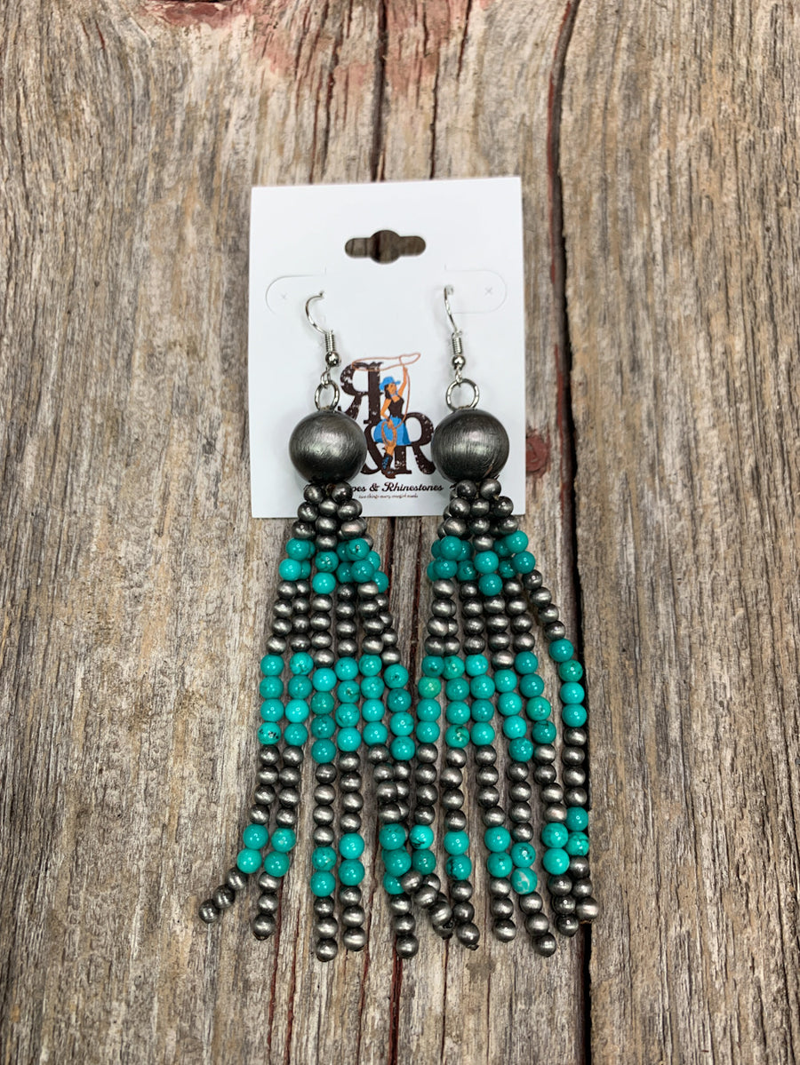 Navajo Pearl  & Turquoise Six Strand Earrings