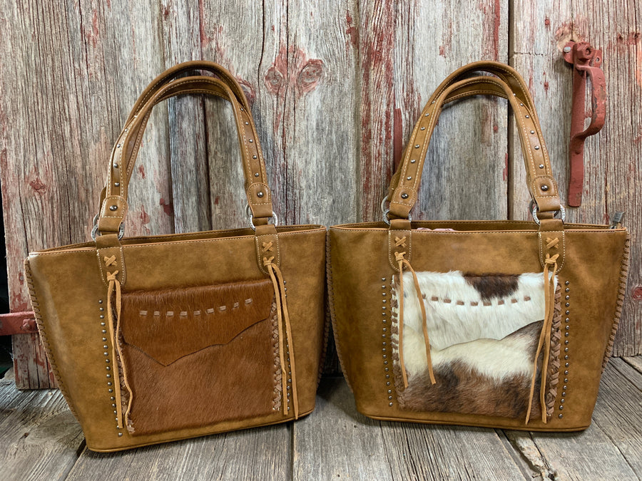 Cowhide Stitched Flap Purse