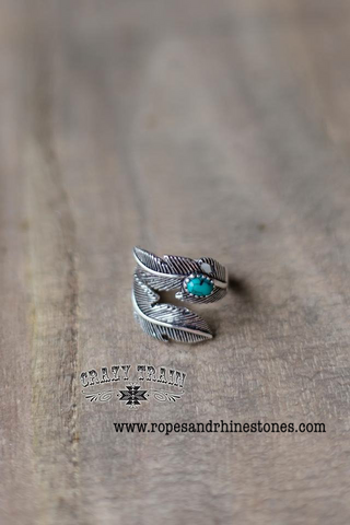 Crazy Horse Turquoise Feather Ring