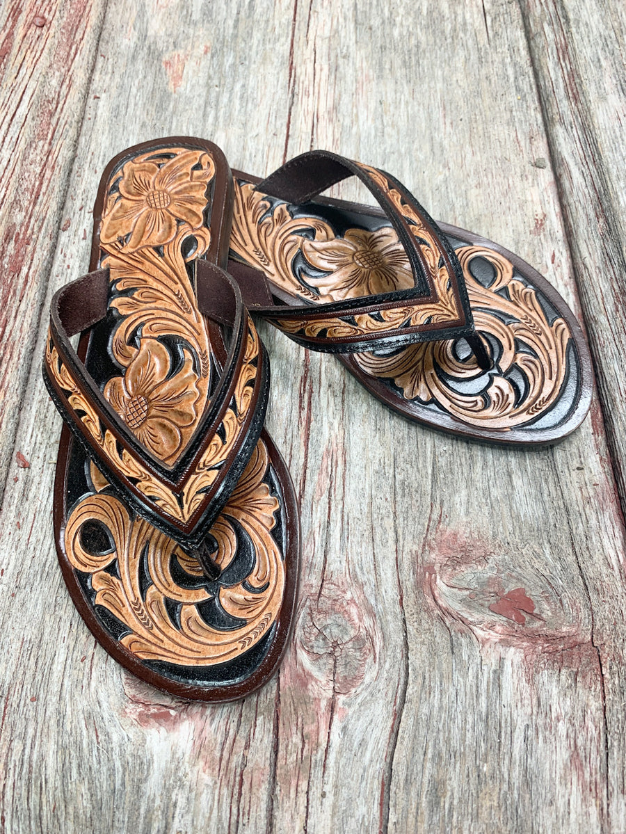 Tooled Leather Texaco Sandals