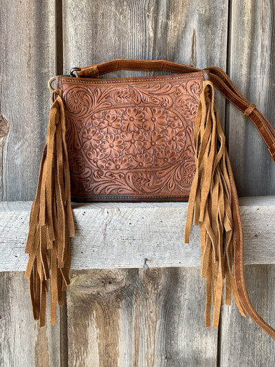 Flower Fringe Tooled Leather Purse