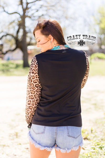 Dixie Delight Leopard Sleeve Top
