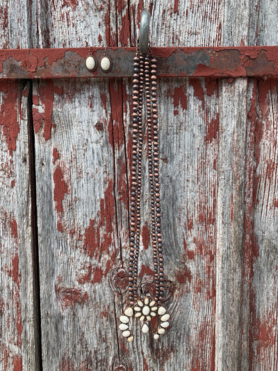 White Turquoise & Copper Squash Blossom Necklace
