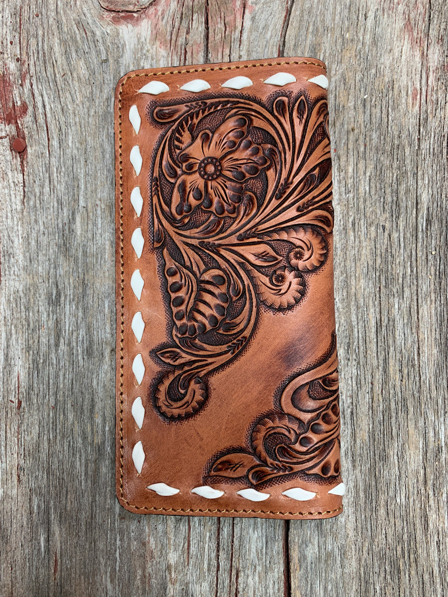 Floral Tooled Buck Stitch Wallet