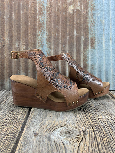 Tooled Leather Wedge Sandal