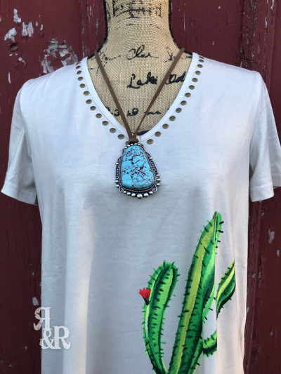 Cactus Studded V Neck Top - Ropes and Rhinestones