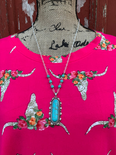 Cow Skull & Flowers Pink Top