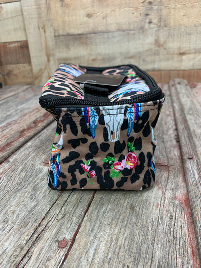 Leopard Cow Skull Cosmetic Bag