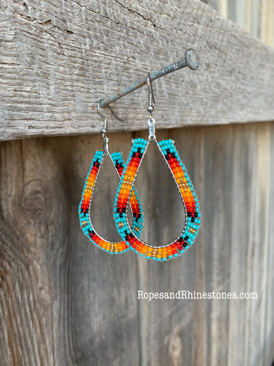 Turquoise Sunset Beaded Earrings