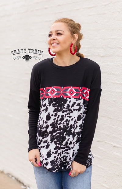 Red Raid Aztec Cow PrintTop