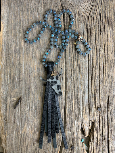 Leather Cow Skull Tassel Necklace