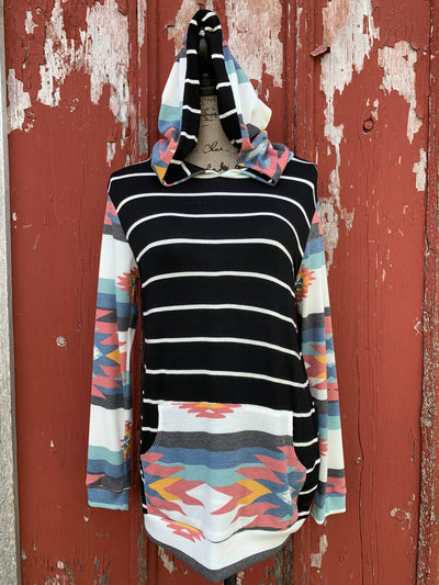 Stripe Aztec Hooded Sweatshirt