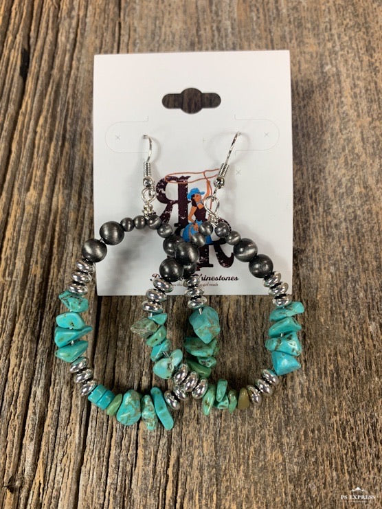Turquoise Rock Steady Hoop Earrings