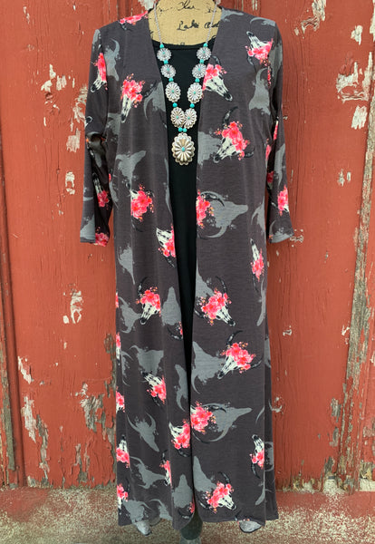 Cow Skull & Pink Flower Duster - Ropes and Rhinestones