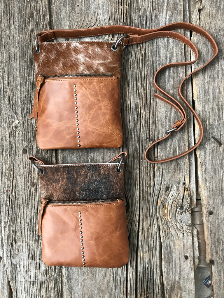 Cowhide Studded Leather Cross Body Purse