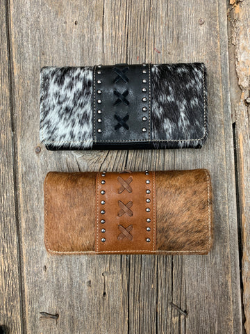 Cowhide Criss Cross Wallet