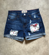 Cow Skull Patch Denim Shorts - Ropes and Rhinestones