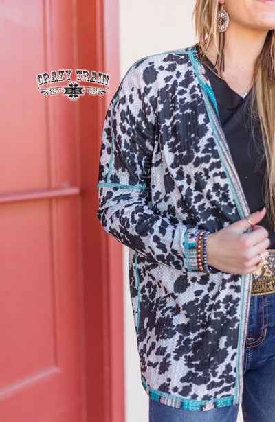 Colorado Cowgirl Cardigan Aztec/Cow Print Reversible