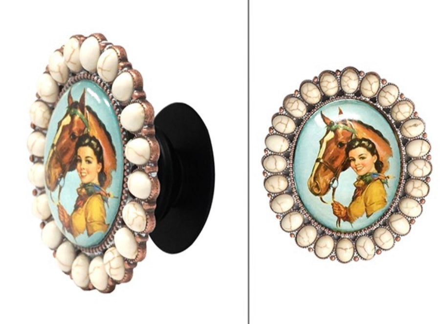 Vintage Cowgirl & Horse Bubble Phone Grip