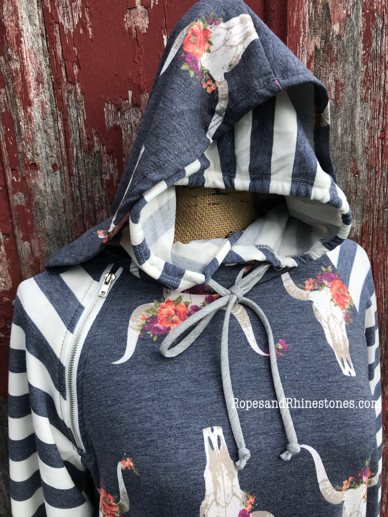 Cow Skulls & Stripes Hoodie - Ropes and Rhinestones