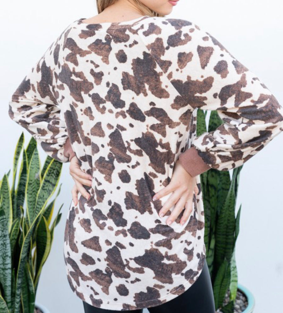 Cow Print Long Sleeve Top