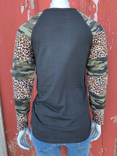 Camo & Leopard Sleeve Top