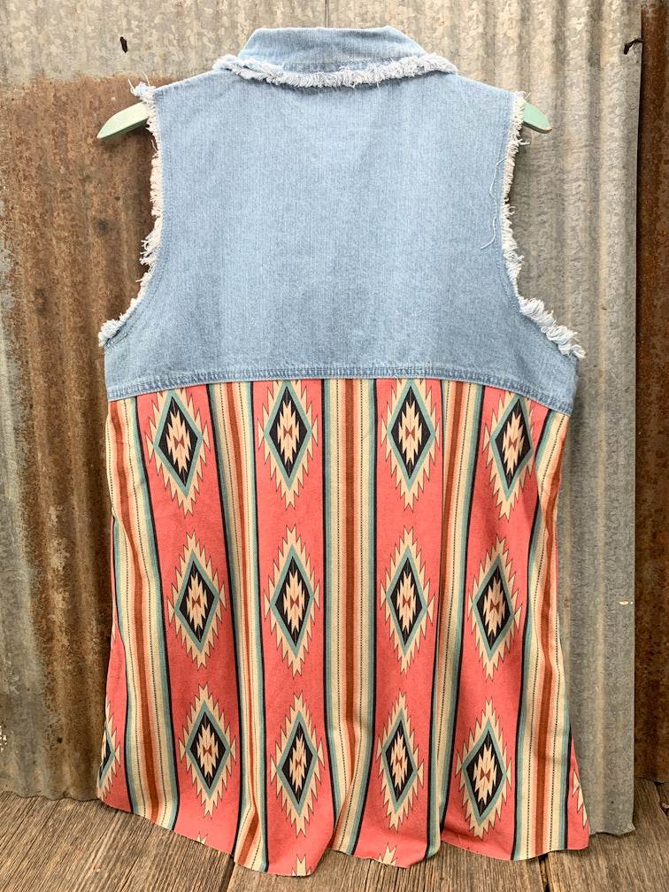 Aztec & Denim Sleeveless Shirt