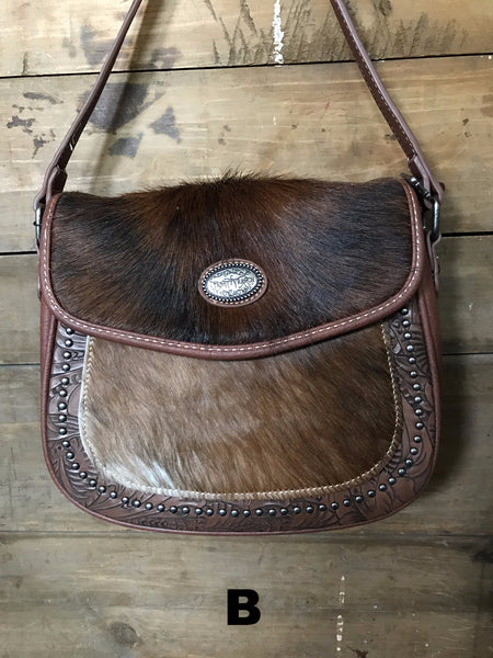 Cowhide Messenger Purse - Ropes and Rhinestones