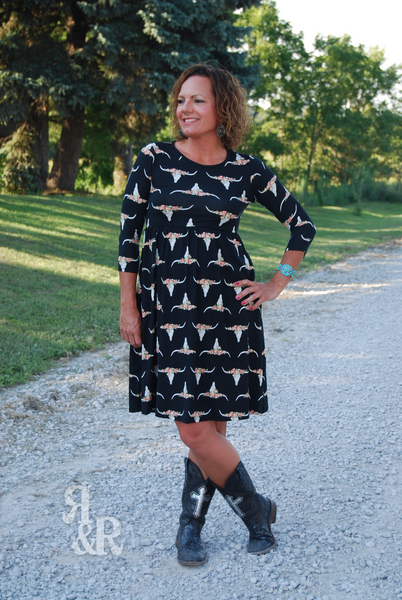 Cow Skull Crazy Dress - Ropes and Rhinestones