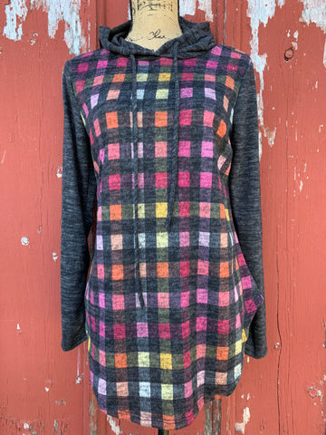 Checker Print Hoodie - Ropes and Rhinestones