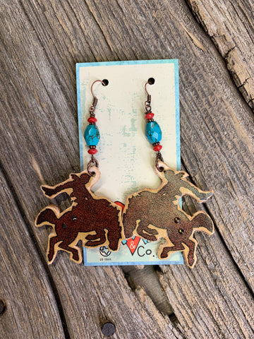 Wyoming Bucking Bronc Leather Earrings.