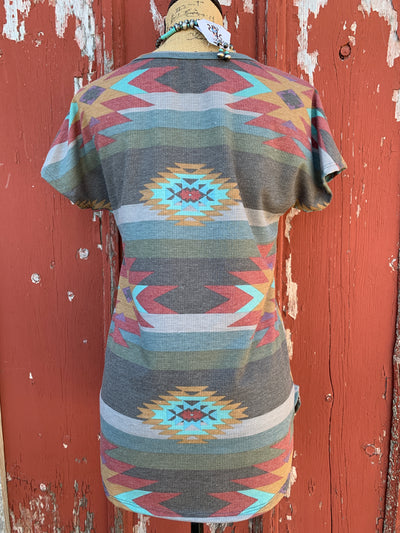 Grey Aztec Top