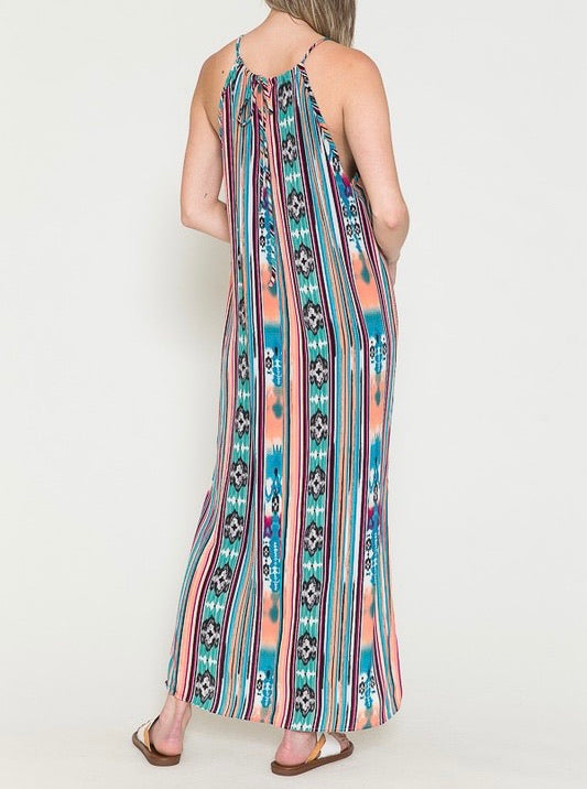 Watercolor Aztec Maxi Dress