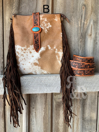 Cowhide & Turquoise Belt Strap Purse