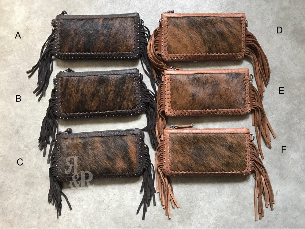Cowhide Whip Stitch Fringe Purse