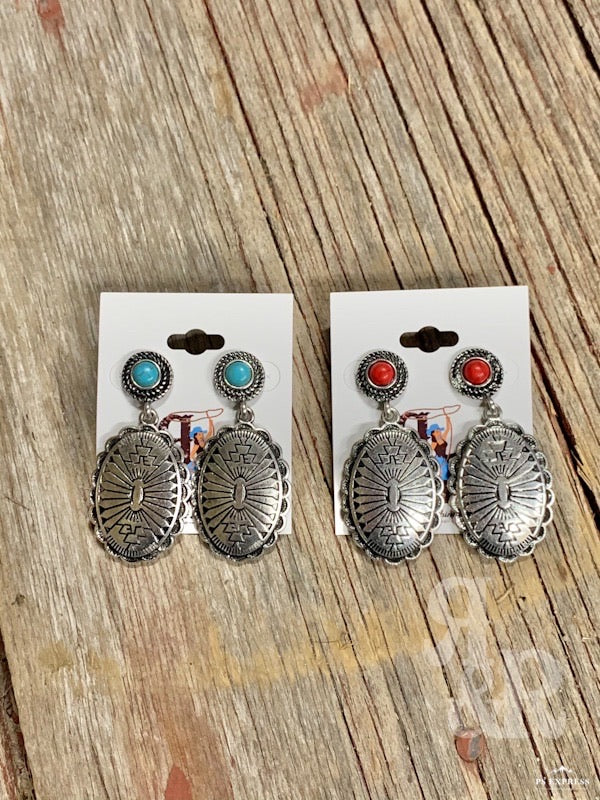 Aztec Oval Concho & Stone Earrings