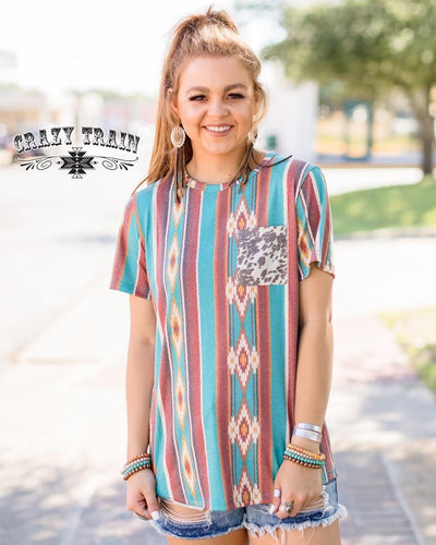 Hamilton Highway Aztec Cow Print Top