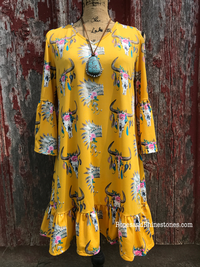 Yellow Cow Skull & Indian Dress