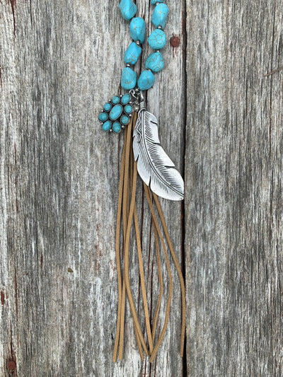Turquoise Feather & Leather Necklace