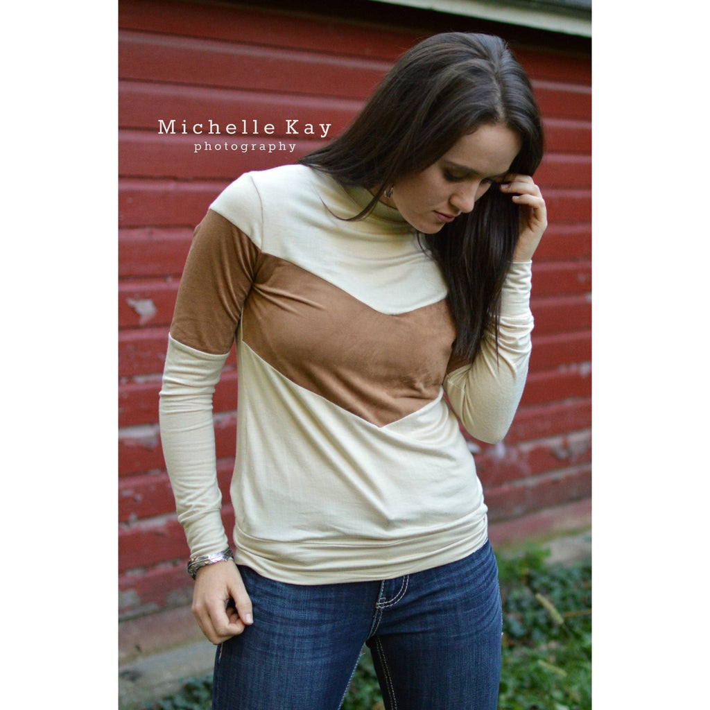 Suede Band Longsleeve Tee - Ropes and Rhinestones