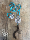 Concho Turquoise Tassle Necklace - Ropes and Rhinestones