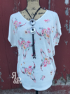 Cow Skull Flower V Neck Top - Ropes and Rhinestones