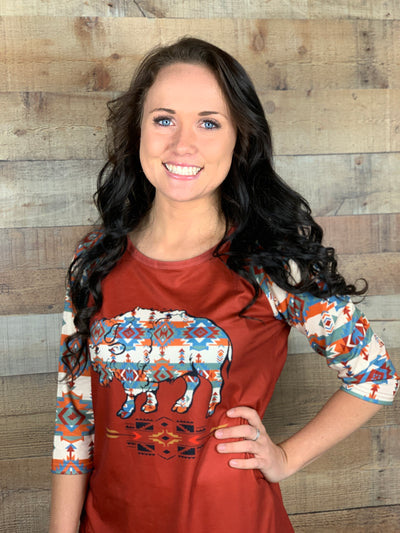 Buffalo Aztec Sleeve Baseball Shirt