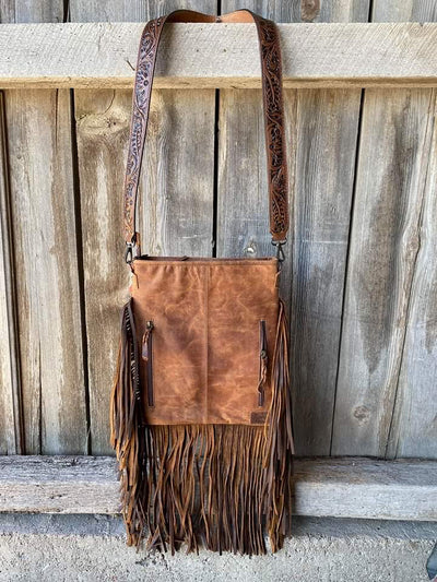 Tooled Leather & Cowhide Fringe Cross Body Purse