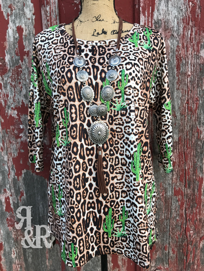 Cactus Lovin Leopard Top - Ropes and Rhinestones