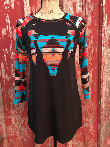 Aztec Cow Skull Tunic Top - Ropes and Rhinestones