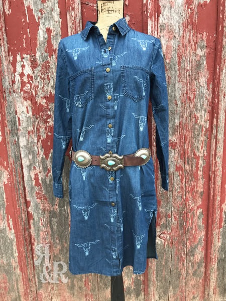 Denim Cow Skull Shirt Dress - Ropes and Rhinestones